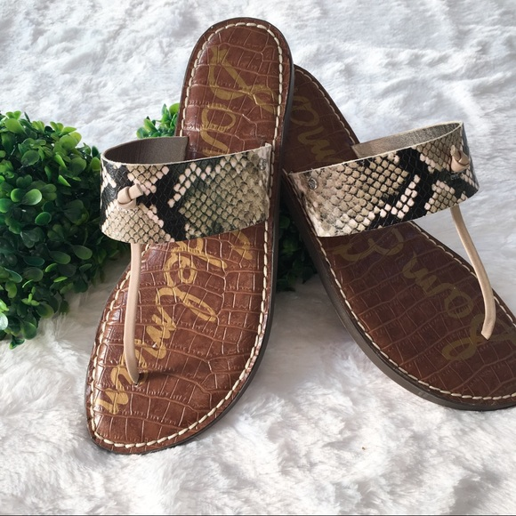 68c72d27c8bf Sam Edelman Gus Snake Print Sandals New In Box